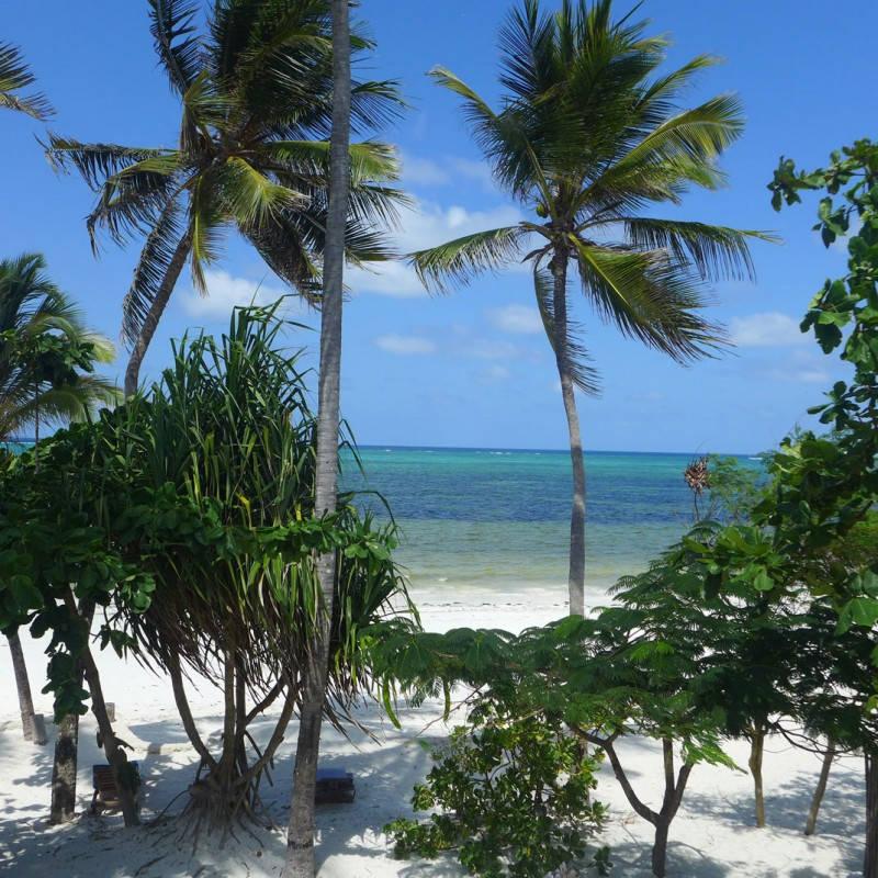 Indigo Beach på østkysten har de vakreste, hvite strendene. Dette bildet er tatt fra sengen min.