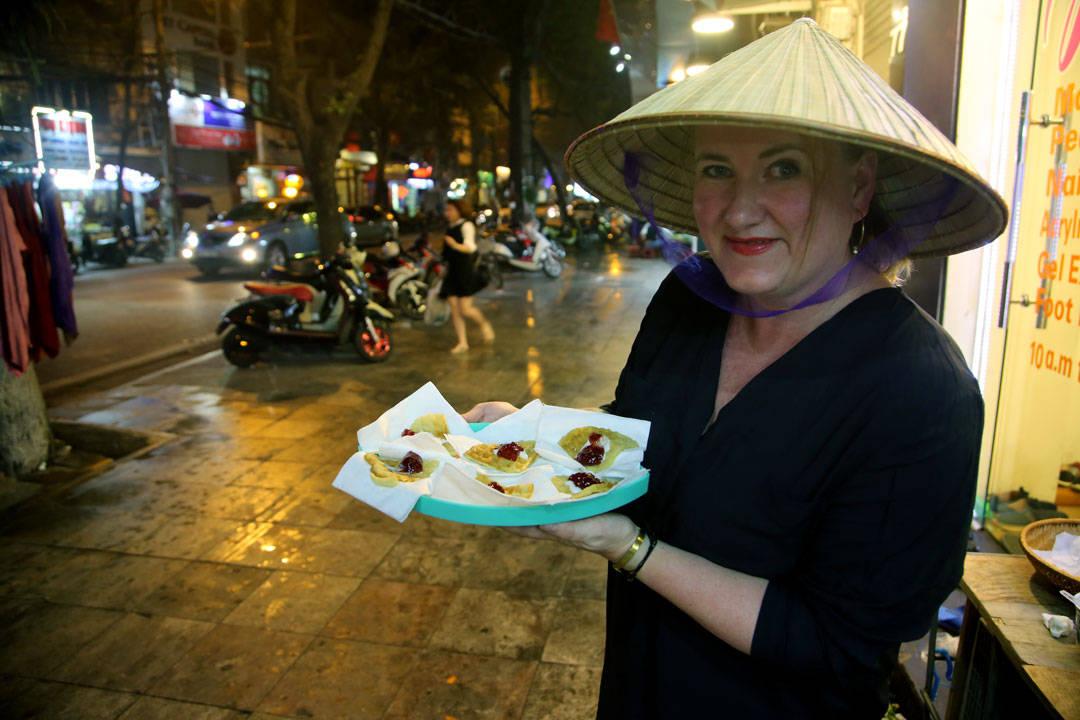 Man må by på seg selv. Her serverer jeg vafler som Street food.