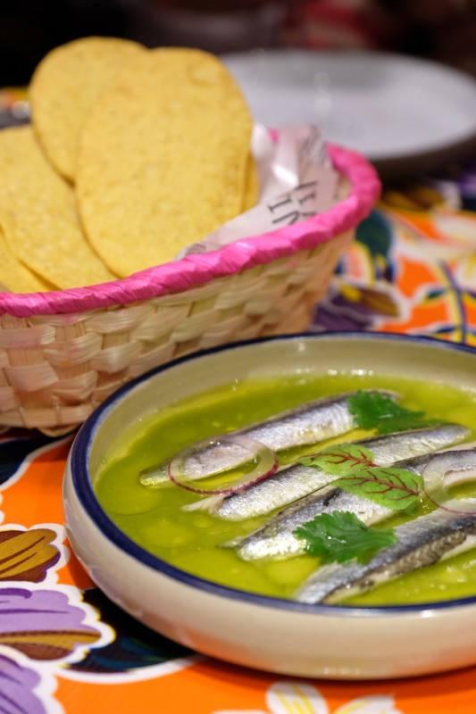 Sardiner i koriandersalsa med jalapeño og lime. Perfet balansert rettt som vi elsket.